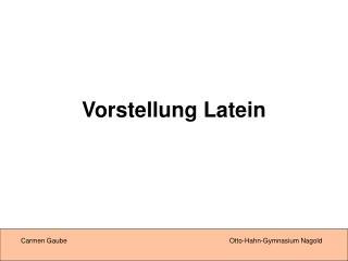 Vorstellung Latein