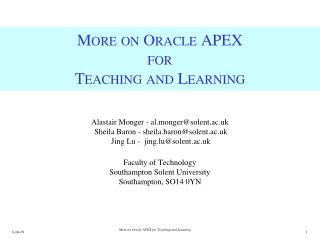 More on Oracle APEX for  Teaching and Learning