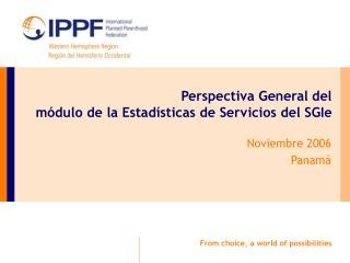 Perspectiva General del  módulo de la Estadísticas de Servicios del SGIe