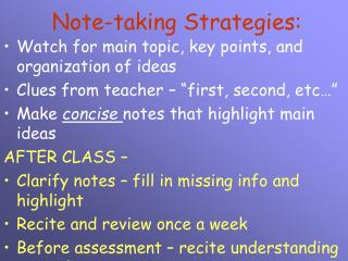 Note-taking Strategies: