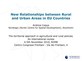 The territorial approach in agricultural and rural policies. An international review