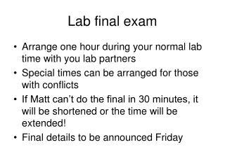 Lab final exam