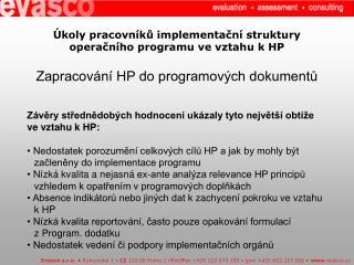 Úkoly pracovníků implementační struktury operačního programu ve vztahu kHP