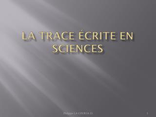 La trace écrite en sciences
