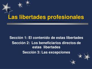 Las libertades profesionales