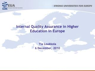 Internal Quality Assurance in Higher Education in Europe