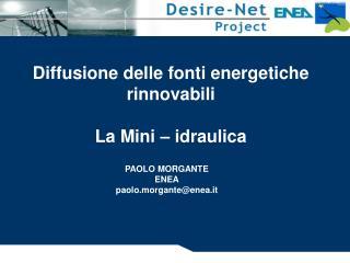 Diffusione delle fonti energetiche rinnovabili La Mini – idraulica