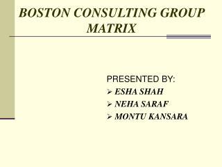 BOSTON CONSULTING GROUP                      MATRIX