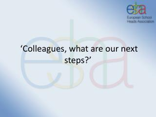 'Colleagues, what are our next steps?'
