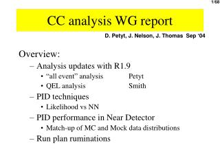 CC analysis WG report