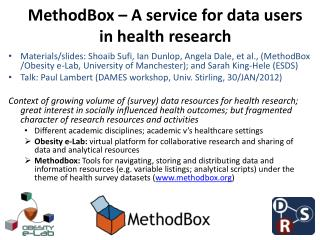 MethodBox � A service for data users in health research