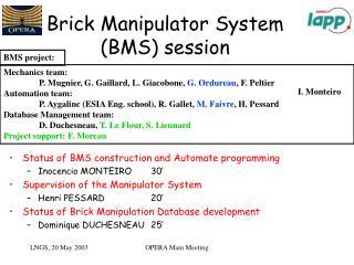 Brick Manipulator System (BMS) session