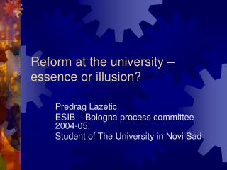 Reform at the university – essence or illusion?