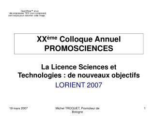 XX ème  Colloque Annuel PROMOSCIENCES