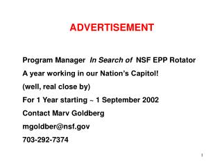 ADVERTISEMENT Program Manager   In Search of   NSF EPP Rotator