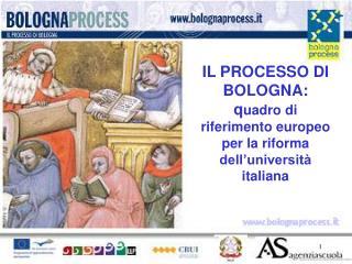 IL PROCESSO DI BOLOGNA: q uadro di riferimento europeo per la riforma dell'università italiana