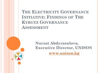 The Electricity Governance  Initiative: Findings of The Kyrgyz Governance Assessment