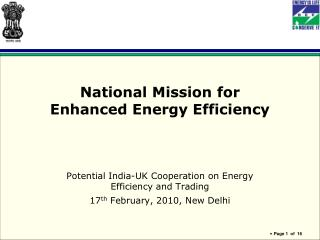 National Mission for  Enhanced Energy Efficiency