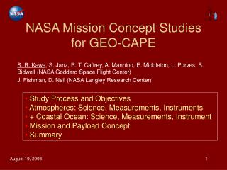 NASA Mission Concept Studies for GEO-CAPE