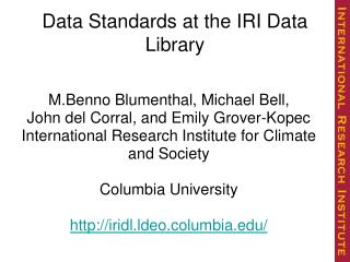 Data Standards at the IRI Data Library