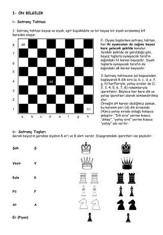 I- ÖN BİLGİLER i- Satranç Tahtası