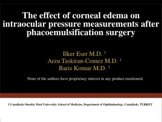 The effect of corneal edema on intraocular pressure measurements after phacoemulsification surgery