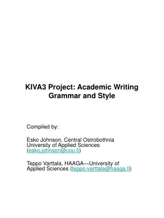 KIVA3 Project: Academic Writing Grammar and Style