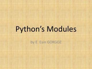 Python's Modules