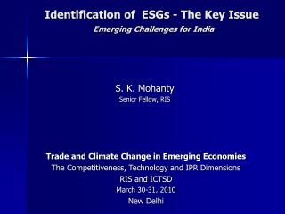 Identification of  ESGs - The Key Issue Emerging Challenges for India