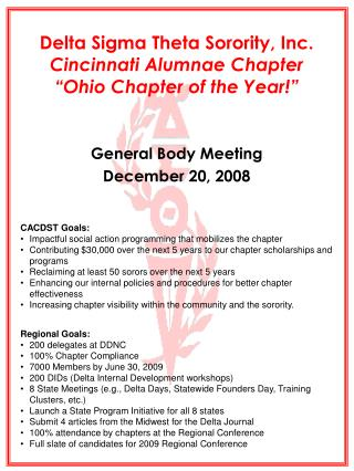 Delta Sigma Theta Sorority, Inc. Cincinnati Alumnae Chapter  Ohio Chapter of the Year
