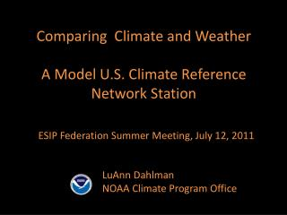 Comparing  Climate and Weather A Model U.S. Climate Reference Network Station