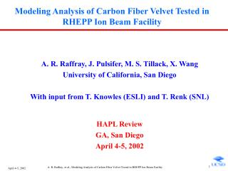 Modeling Analysis of Carbon Fiber Velvet Tested in RHEPP Ion Beam Facility