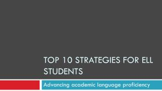Top 10 strategies for ell students