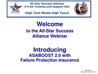Welcome to the All-Star Success  Alliance Webinar