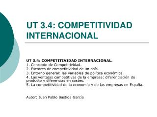 UT 3.4:  COMPETITIVIDAD INTERNACIONAL
