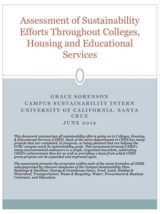 Assessment of Sustainability Efforts Throughout Colleges, Housing and Educational Services