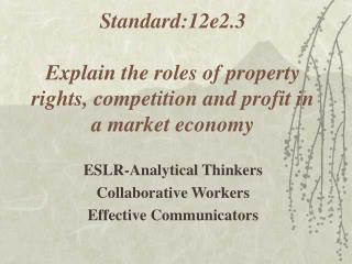 Standard:12e2.3  Explain the roles of property rights, competition and profit in a market economy