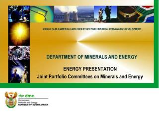 ENERGY PRESENTATION Joint Portfolio Committees on Minerals and Energy