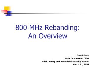 800 MHz Rebanding: An Overview