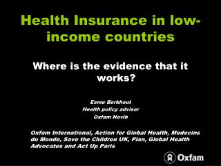 Health Insurance in low-income countries