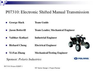 P07310: Electronic Shifted Manual Transmission