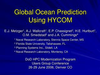 Global Ocean Prediction Using HYCOM