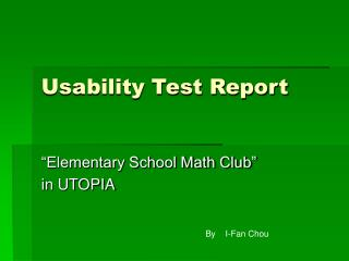 Usability Test Report