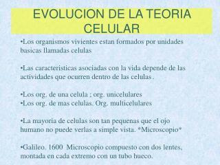 EVOLUCION DE LA TEORIA CELULAR