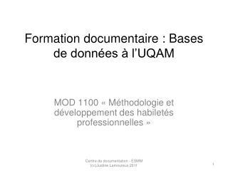 Formation documentaire : Bases de données à l'UQAM
