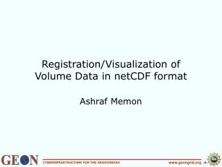 Registration/Visualization of  Volume Data in netCDF format