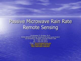 Passive Microwave Rain Rate Remote Sensing