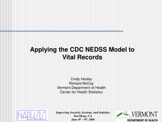 Applying the CDC NEDSS Model to Vital Records