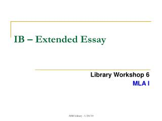 IB – Extended Essay