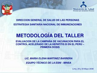 DIRECCION GENERAL DE SALUD DE LAS PERSONAS ESTRATEGIA SANITARIA NACIONAL DE INMUNIZACIONES